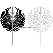 sword and wings stencil design