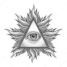 all seeing eye pyramid symbol in the engraving style