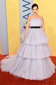 kacey musgraves strapless tiered tulle lavender prom ball gown cma