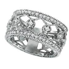 white eternity rings images Antique style floral diamond eternity ring wide band 14k white jpg