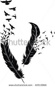 flying birds tattoo designs two stylized feathers with scattering birds in the form of a