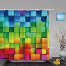 Custom Bathroom Shower Curtains 3d Printing Bathroom Shower Curtains Rainbow Square Shower Curtain