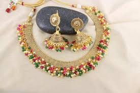 gold plated beads necklace images Gold plated multicolored small beads necklace set jpg