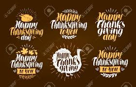 happy thanksgiving label set symbol or logo lettering