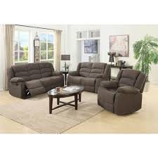 Ellis Contemporary Microfiber Piece Living Room Set BrownS - Three piece living room set