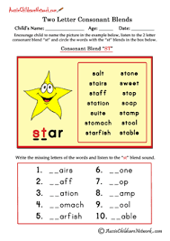 two letter consonant clusters worksheets english phonics