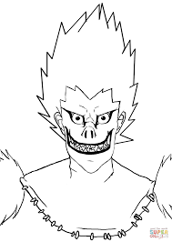 ryuk from death note manga coloring page free printable coloring