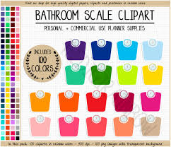 sale 100 bathroom scale clipart rainbow scale planner sticker