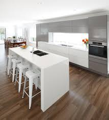 this sleek modern kitchen design incorporates white silver and