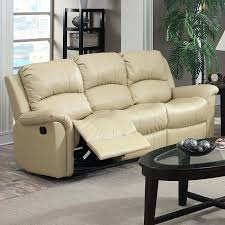 white leather match power reclining sofa beige microfiber recliner