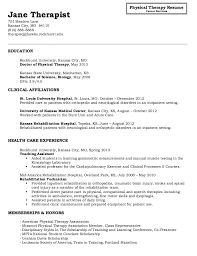 Physical Therapist Assistant Resume Examples by Physical Therapy Resumes Samples Template
