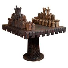 Chess Table Vintage Monumental Carved Wood Game Table And Chess Pieces At 1stdibs