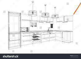 Linear Kitchen by 3d Linear Kitchen Interior Stock Illustration 288459020 Shutterstock