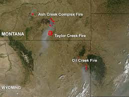 Wyoming Wildfires Map Nasa Fires In Eastern Montana And Eastern Wyoming