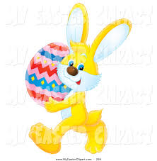 big easter bunny clip of a yellow easter bunny carrying a big colorful