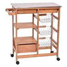 kitchen island trolleys amazon com giantex bamboo rolling kitchen island trolley cart
