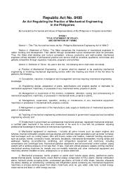 Sample Resume For Ojt Mechanical by Mechanical Engineeringlaw R A 8495