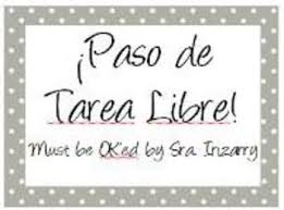 tarea libre free homework pass by spanish teachers like me tpt
