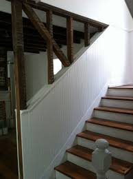 stair stair remodeling idea with walnut treads combine with white