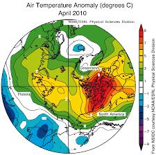 North America Temperature Map by April Sea Ice Extent Near Average Arctic Temperatures Above