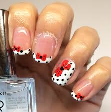 nail art tutorial red bow on french manicure youtube
