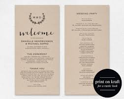 wedding programs rustic rustic wedding program template wedding program printable wreath