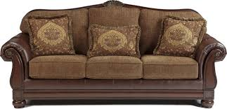 Two Tone Traditional Sofa With Wood Trim Accents Living Room - Traditional sofa designs
