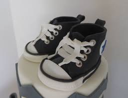 chevron baby shower cake with fondant converse shoes byrdie