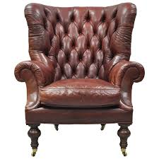 Tufted Leather Chesterfield Sofa by Oversized Lillian August Brown Tufted Leather English Chesterfield