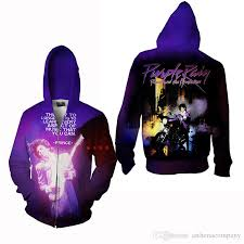 2017 latest prince purple rain zipper jacket print sweatshirt