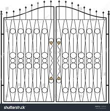 Door Grill Design Wrought Iron Gate Door Fence Window Stock Vector 114309625