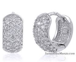 diamond huggie earrings micro pave cz diamond cubic zirconia huggie hoop earrings silver