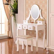 Makeup Vanity Table With Drawers Vintage Makeup Vanity Table Set With Mirror Stool 7 Drawers Wood