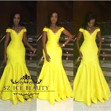bright yellow off shoulder prom dress with sleeves mermaid floor