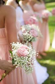 bridesmaid bouquets pink and baby s breath wedding bouquets deer pearl flowers