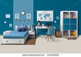 Boy Room Interior Design - people sleeping bed kids cats together stock vector 541606126