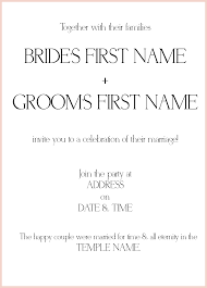 Lds Wedding Invitations Wedding Invitation Message From Bride And Groom Image Collections