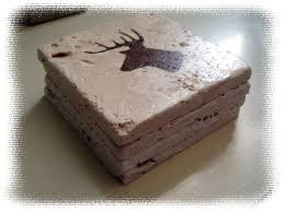 rustic coaster set deer head on stone tiles deer hunting deer