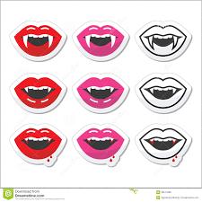 vampire mouth vampire teeth labels set stock illustration image