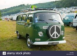 green volkswagen van old green volkswagen camper van with cnd symbol stock photo