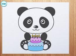 how to draw panda with birthday cake youtube