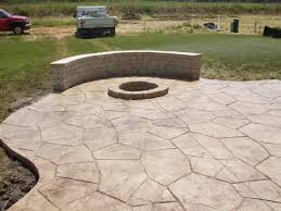 Backyard Stamped Concrete Ideas Stamped Concrete Patio With Fire Pit Fire Pit Ideas