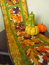Autumn Table Decorations Quilted Fall Table Runner Leaves Pattern Fall Colors Autumn Table