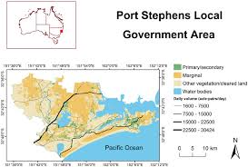 map of pairs the port stephens local government area map shows the study area s