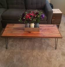 reclaimed wood coffee table with walnut border hairpin legs