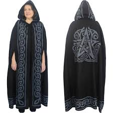 celtic ritual robes black grey celtic pentacle cotton hooded cloak cape or ritual