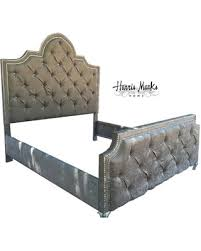 Velvet King Headboard Holiday Special Tufted Bed French Crystal Nailhead Rhinestone