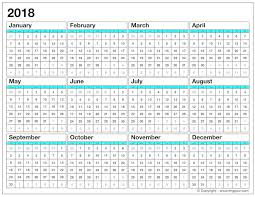 printable calendar for 2018 yearly calendar template excel pdf