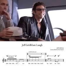 Jeff Goldblum Meme - sheet music for jeff goldblum s laugh in jurassic park geekologie