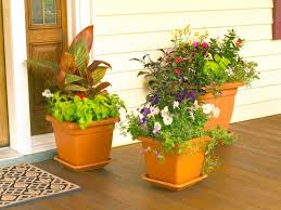 front porch big flower pot design idea of brown clay jug for front